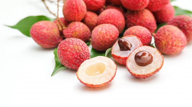 Litchi on a white background.