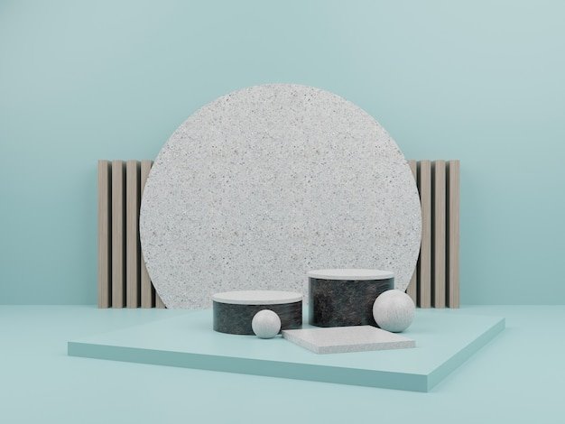 Lite blue geometric shape with marble podium for product display