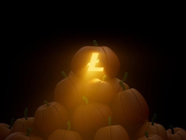 라이트 새겨진 호박 스택 더미 암호화 통화 3d 그림 렌더링 어두운 조명