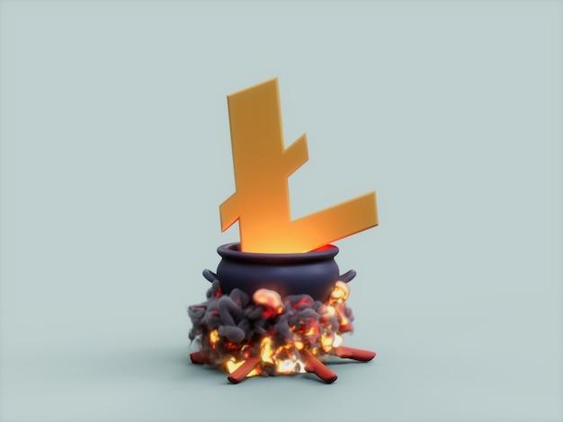 라이트 가마솥 화재 요리사 암호화 통화 3d 그림 렌더링