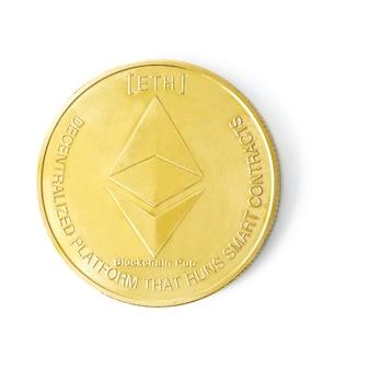흰색 격리 된 배경, 금화에 litecoin 암호 화폐 로고