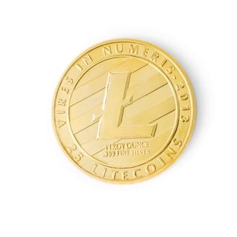 그림자 암호 화폐 로고와 함께 흰색 배경에 고립 된 litecoin