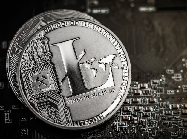 Litecoin laying on computer motherboard