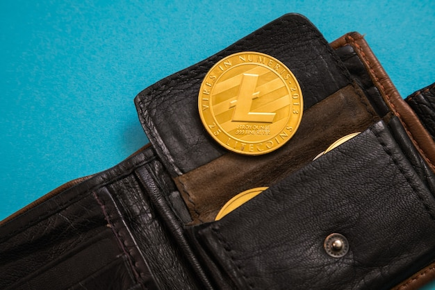 Litecoin sticking out of leather wallet o blue background. digital currency