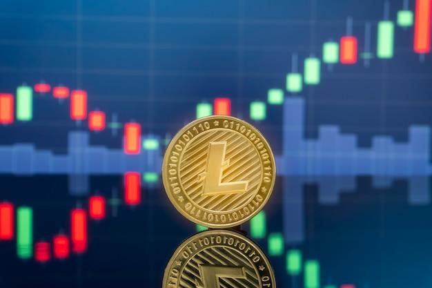 Концепция инвестирования litecoin и криптовалюты.