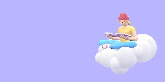 Любитель литературы молодой хипстер девушка в шляпе в небе на облаке читает книгу