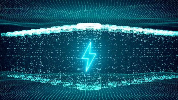 リチウムイオン電池が電気エネルギー供給の再充電を開始、急速充電技術の概念、抽象的な未来的な3dレンダリングの図デジタルサイバースペース粒子の背景