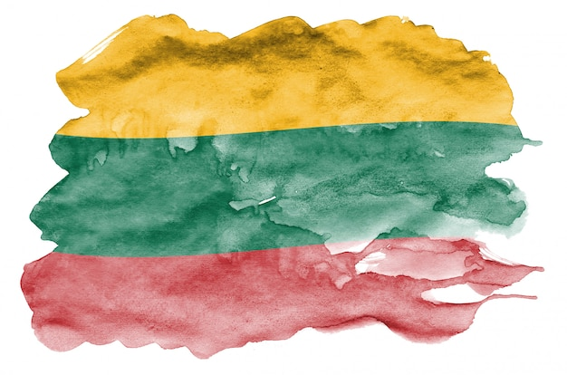 Lithuania flag is depicted in liquid watercolor style isolated on white
