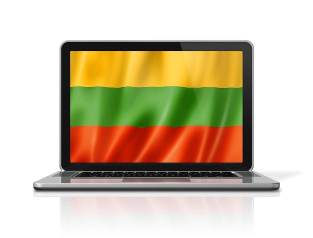 흰색 절연 노트북 화면에 리투아니아 플래그입니다. 3d 그림을 렌더링합니다.