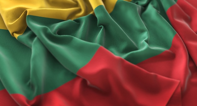 Lithuania flag ruffled beautifully waving macro close-up shot