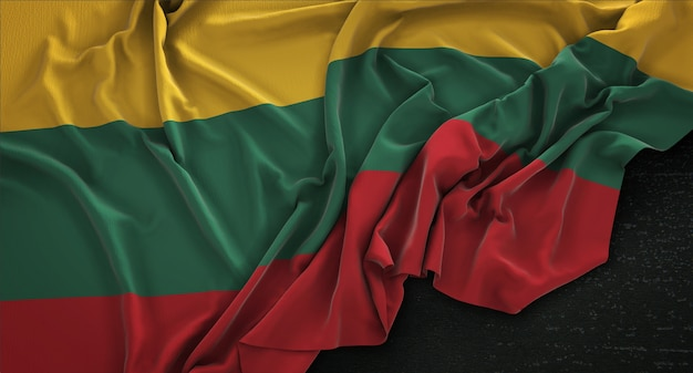 Lithuania flag wrinkled on dark background 3d render