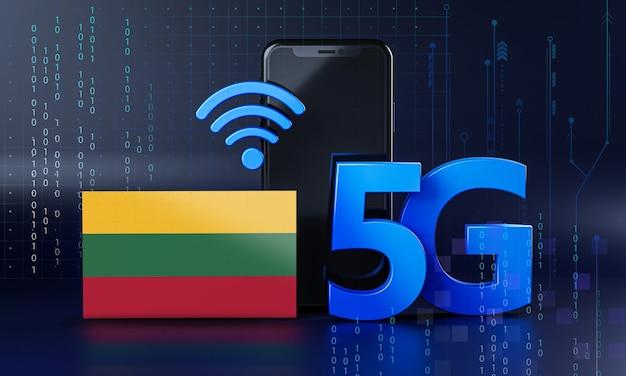 リトアニアは5g接続コンセプトの準備ができています。 3dレンダリングスマートフォン技術の背景