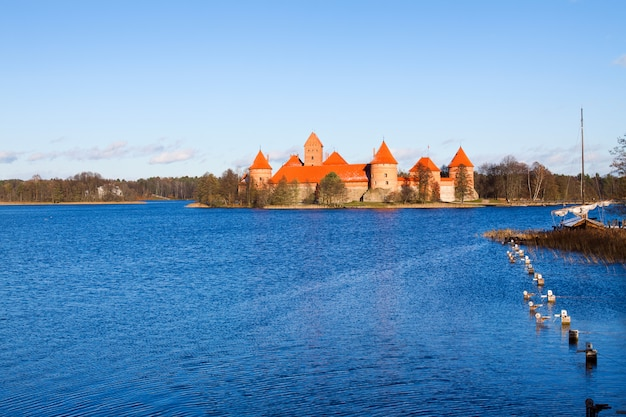 Lithuania, trakai, view of the medieval castle