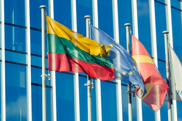 Lithuanian and ue flags in vilnius financial district