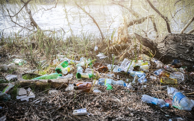 자연의 쓰레기 플라스틱. 환경 오염. 생태 재앙입니다. 녹색 더러운 물입니다. 야외에서 쓰레기. 쓰레기 개념입니다.