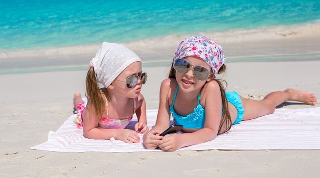 Little adorable girls during caribbean vacation