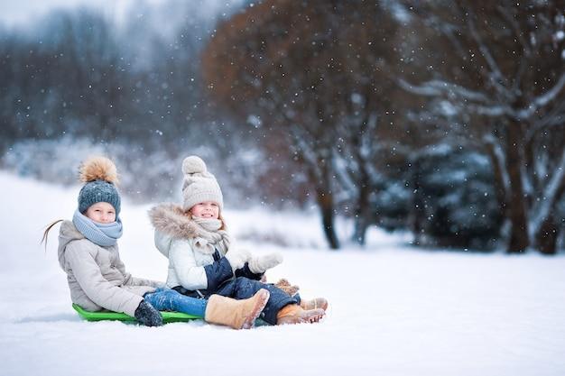Маленькие очаровательные девочки наслаждаются катанием на санях
