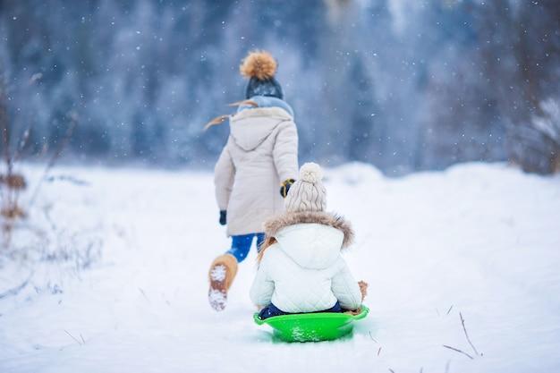 Little adorable girls enjoy a sleigh ride.