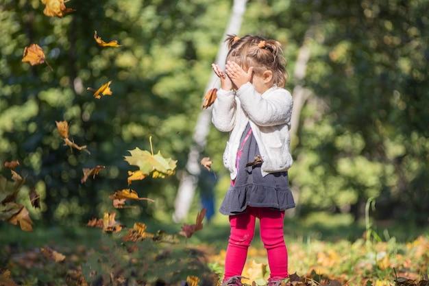 Очаровательная маленькая девочка играет в палящих листьях в осеннем парке в солнечный день