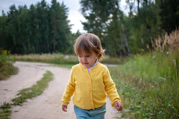 시골에서 여름 들판 어린이 휴가에서 시골 길을 걷는 작은 사랑스러운 유아
