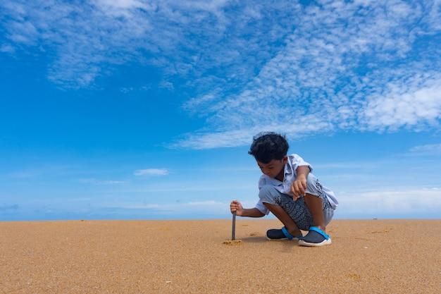 小さなアジアの少年は、ビーチで砂遊びをします。