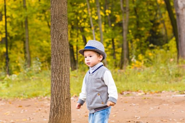 カラフルな秋の公園を歩いている小さな男の子。