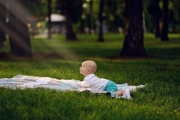 여름 공원에서 잔디에 누워있는 작은 아기, 햇빛이 얼굴에 빛나고 있습니다.