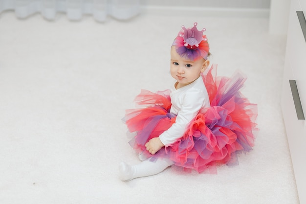Little baby princess in tutu and handmade crown