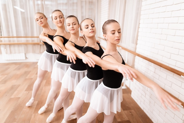 Little ballet dancers train to dance.