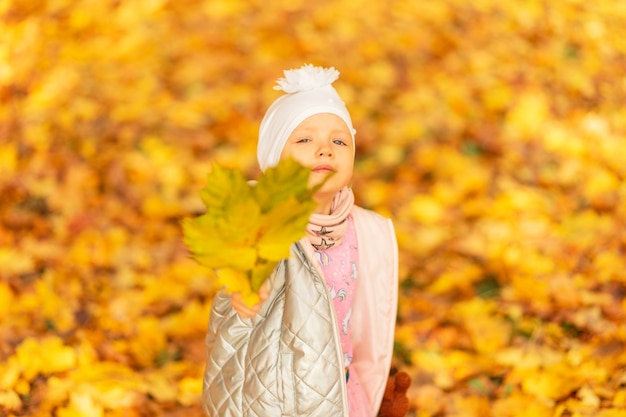 Little beautiful girl child in fashion clothes with a bouquet of yellow fall leaves walks in autumn park
