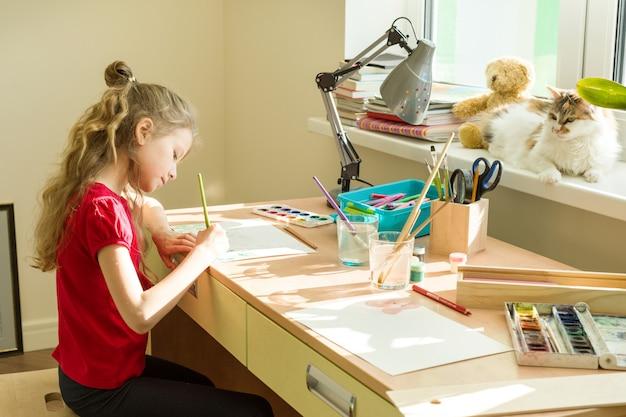 水彩絵の具で描く美しい少女