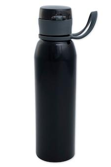 흰색 바탕에 물에 대 한 작은 검은 병.