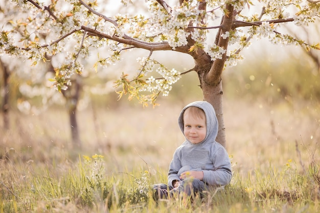Маленький белокурый мальчик в сером свитере с капюшоном на голове сидит в зеленой траве под цветущим деревом