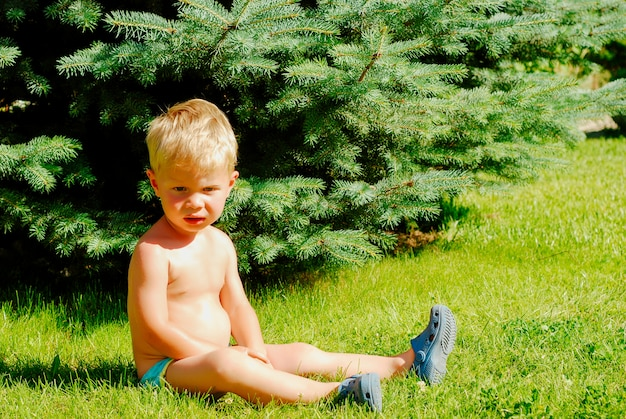 Little blonde boy sits on the grass in summer park