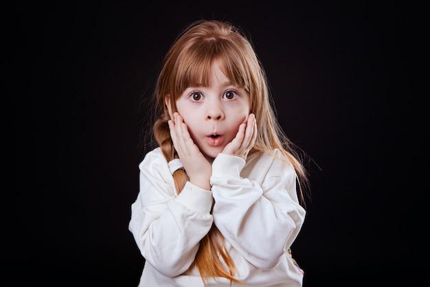 Little blonde girl is surprised