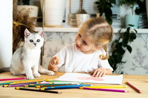 A little blonde girl sits at a table and teaches a white scottish kitten, colored pencils and a