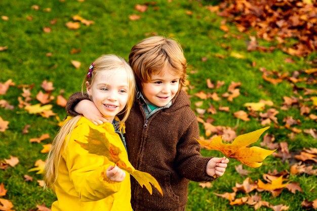秋の公園で抱き締める小さな男の子と女の子。カラフルな葉、カエデの葉。