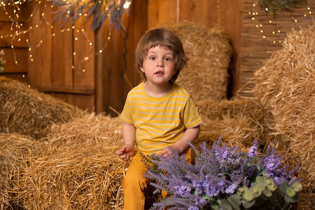 Little boy in barn in straw sheaves in farm, countryside, farming