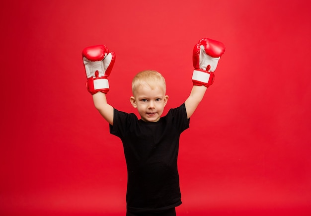 A little boy boxer winner held up his hands in red boxing gloves on red