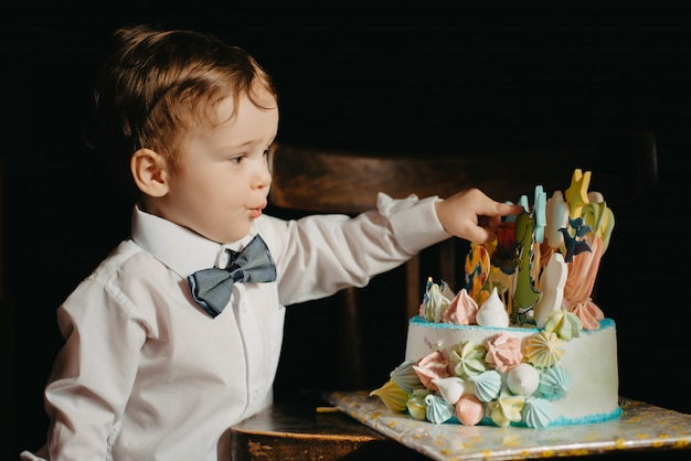 A little boy next to a cake for his birthday