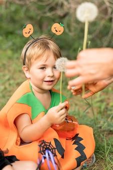 Little boy costumated for halloween