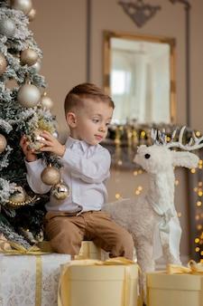 小さな男の子はクリスマスのためにクリスマスツリーを飾ります。