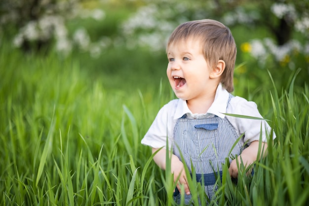 A little boy in denim overalls with expressive blue eyes. jumping and fooling around in the tall green grass
