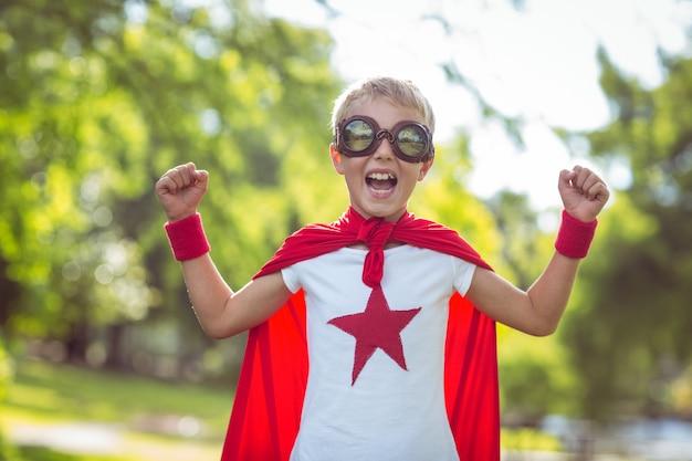 Little boy dressed as superman