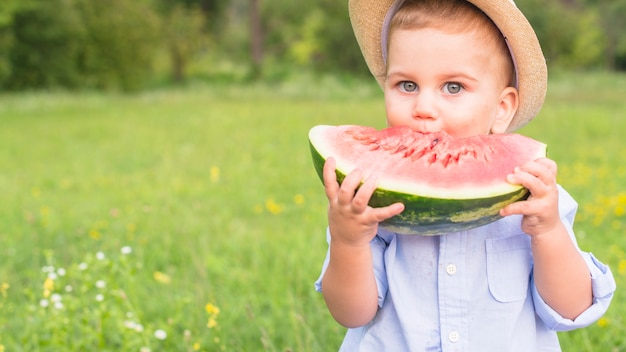 Little boy eating big red slice of watermelon in the park