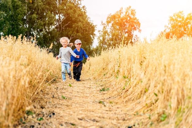 Little boy and girl on a wheat field in the sunlight running, playing enjoying nature. kid raising over field and sunset sky background. children  environment concept