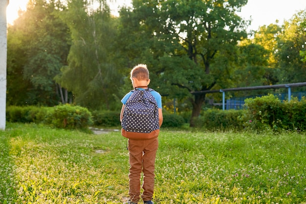 Little boy going child with backpack on first school day.