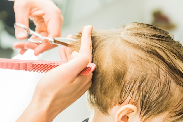 Little boy in a hairdressing salon