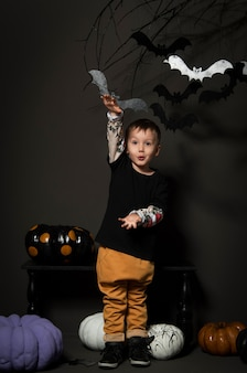 Little boy on halloween party on a black background with pumpkins and bats on a tree