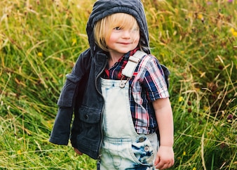Little Boy Happiness Smiling Nature Outdoors Concept